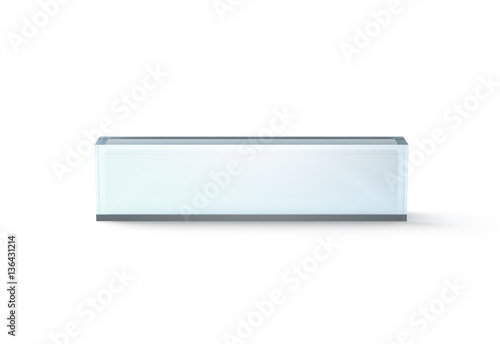 Fotografie, Obraz  Blank transparent glass desk block mockup, front view, 3d rendering