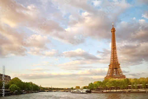 Printed kitchen splashbacks The Eiffel Tower and the river Seine at sunset sky background in Paris