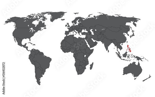 Philippines red on gray world map vector – kaufen Sie diese ...