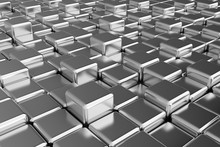 Silver Squares Extruded Abstra...