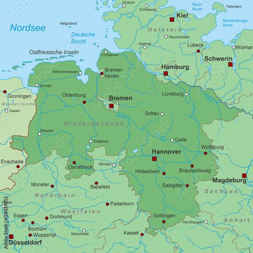 Bundesland Niedersachsen Landkarte In Grun Buy This Stock