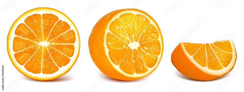 Set of vector illustration oranges