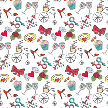 Seamless Pattern With Valentine's Icons On The White Background