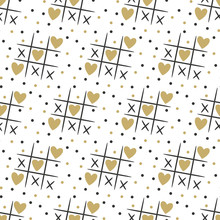Seamless Pattern With Tic Tak Toe And Hearts On The White Backgr