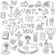 Set Of Valentine Day Doodle Elements On The White Background.