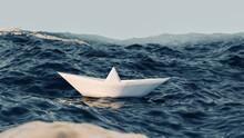 Paper Boat Sailing On Blue Water 3d Illustration