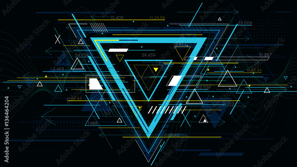 Fototapeta Tech futuristic abstract backgrounds, colorful triangle
