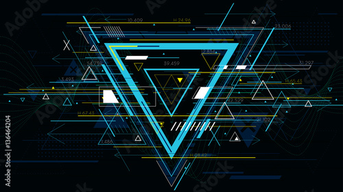 Fotografía Tech futuristic abstract backgrounds, colorful triangle