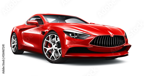 Photo  Elegant red sport coupe