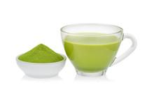 Hot Green Tea Matcha Latte With Powdered Green Tea