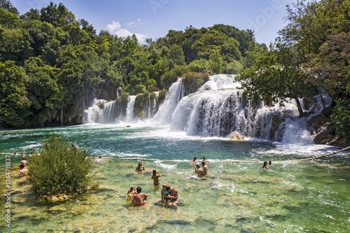 Küchenrückwand aus Glas mit Foto Wasserfalle Krka National Park one of the most famous and the most beautiful park in Croatia