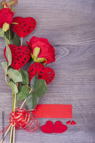 Keuken foto achterwand Roses Beautiful roses with hearts