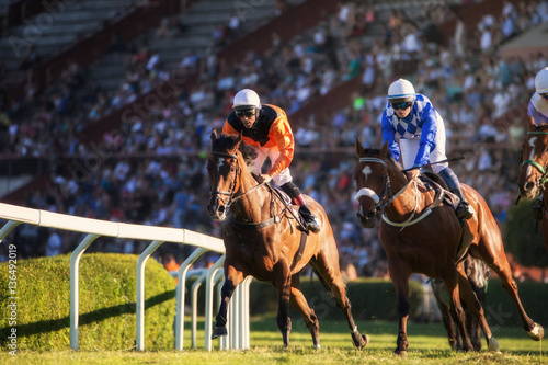Two jockeys during horse races on his horses going towards finish line. Traditional European sport.