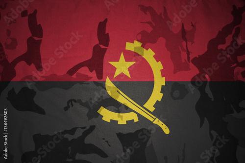 Foto op Aluminium Grandfailure flag of angola on the khaki texture . military concept