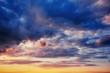 Fantastic blue orange sunset. Beauty world.