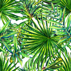 Panel Szklany Podświetlane Egzotyczne Seamless floral pattern with watercolor tropical palm leaves. Jungle foliage on white background. Textile design.