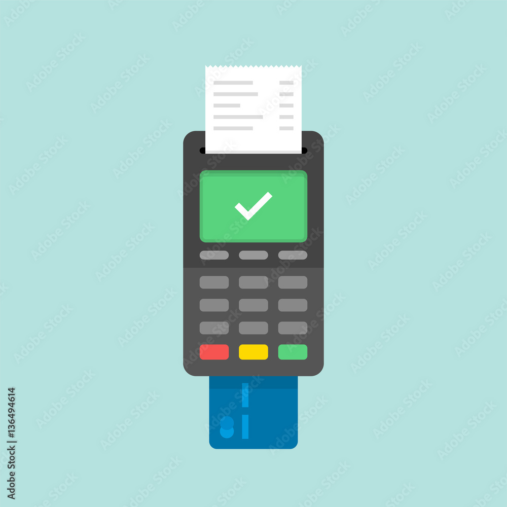 Fototapeta Payment by credit card using POS terminal, approved payment. Flat illustration.