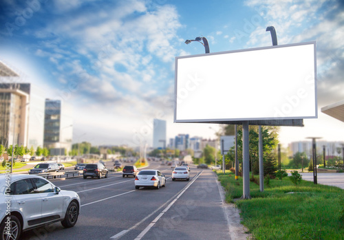 Fotografía  Banner billboard mockup for advertising in city useful for design