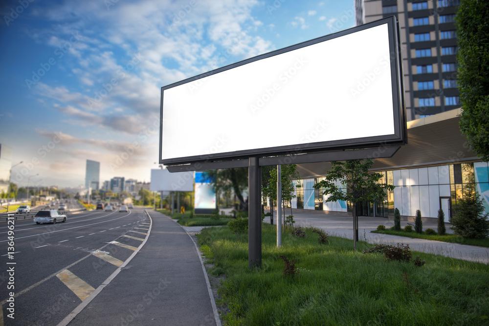 Fototapety, obrazy: Banner billboard mockup for advertising in city useful for design