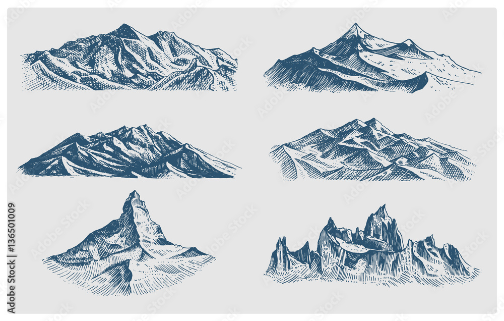 Fototapety, obrazy: big set of mountains peaks, vintage, old looking hand drawn, sketch or engraved style, different versions for hiking, climbing.