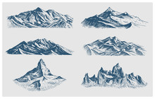 Big Set Of Mountains Peaks, Vi...