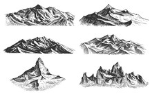 Big Set Of Mountains Peaks, Vintage, Old Looking Hand Drawn, Sketch Or Engraved Style, Different Versions For Hiking, Climbing.