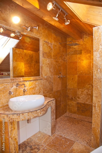 Naturstein Badezimmer Travertin Gold Buy This Stock Photo And