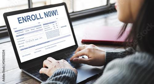 Fotomural  Enroll Now Registration Membership Concept