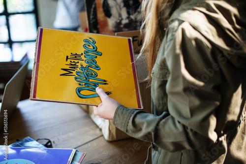In de dag Muziekwinkel Vinyl Record Store Music Shopping Oldschool Classic Concept