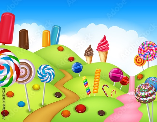Foto auf Gartenposter Lime grun Fantasy candyland with dessrts and sweets