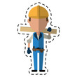 cartoon man construction wooden board and tool belt vector illustration