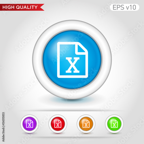 Photo  Excel file icon. Button with excel file icon. Modern UI vector.
