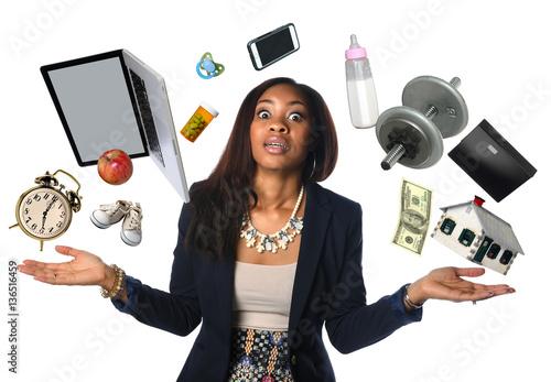 Fotografía  African American Businesswoman Juggling