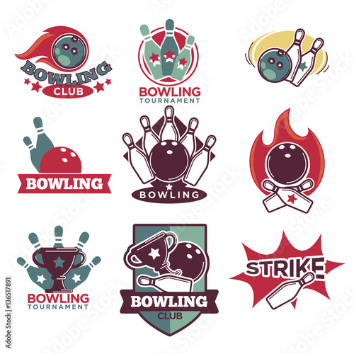 Staande foto Kunstmatig Bowling Club and Tournament Logotypes Collection