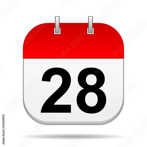 Tela  28 on blank calendar icon