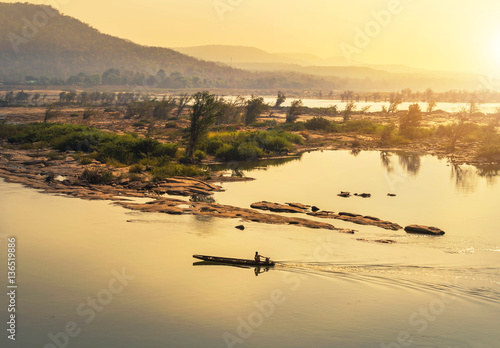 Printed kitchen splashbacks River wooden fishing boat sailing in mekong river on sunrise at khongjiam district of thailand border of thailand and laos