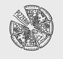 Panel Szklany Do pizzerii Pizza Label Design Typographic. Pizza festival or pizzafest.