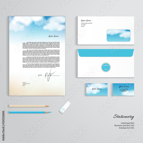 Vector corporate identity templates sky clouds sunshine and sandy vector corporate identity templates sky clouds sunshine and sandy beach letterhead reheart Choice Image