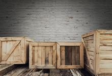 Old Wooden Box On Brick Backgr...