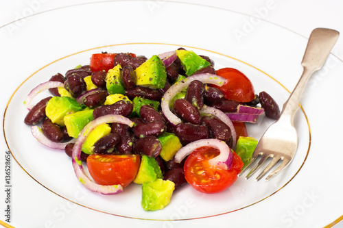 Salad with avocado, beans, cherry tomatoes, red onion and vegeta Wallpaper Mural
