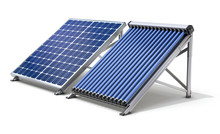 Solar Panel Generator And Solar Heater On White Background