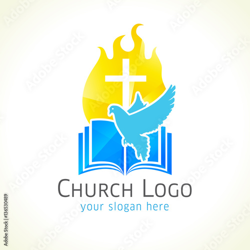 Christian church vector logo golden glowing crucifix fire dove christian church vector logo golden glowing crucifix fire dove bible fiery altavistaventures Choice Image