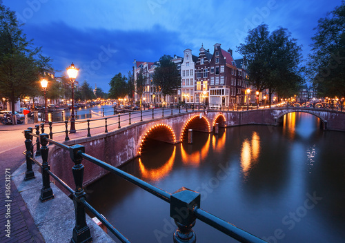 Photo  Amsterdam at dusk.