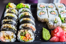 Set Of Futomaki Sushi With Grilled Salmon