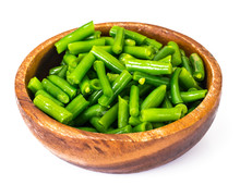 Green Beans In Wooden Bowl