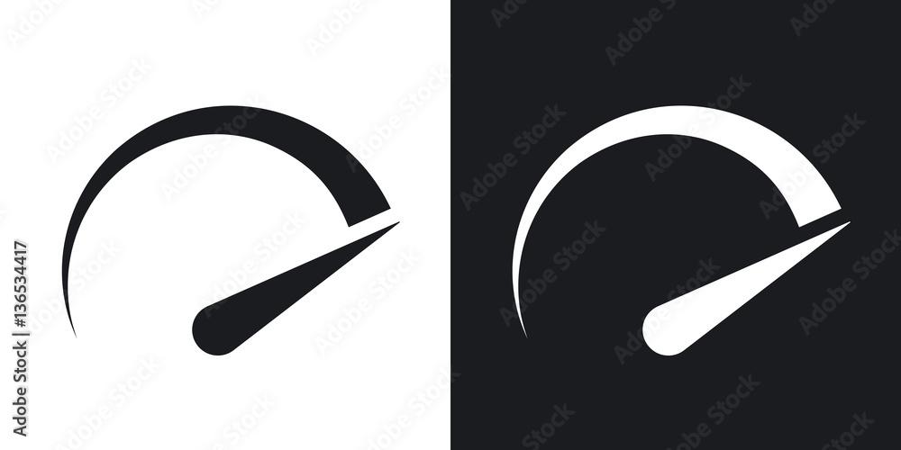 Fototapeta Speedometer icon, vector. Two-tone version on black and white background