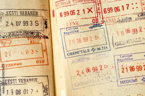 Fotografia  Passport with east-european visa