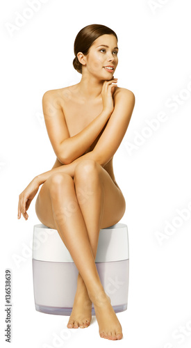 Woman Body Skin Care Cream, Naked Sexy Model Sitting On -6148