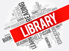 Library Word Cloud Collage, Education Concept Background