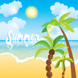 Summer time sea view background. Ocean and palm trees seaside blue design. Beautiful beach with palm trees and sun. Vector illustration for a card or poster.
